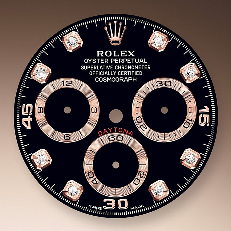 This model features a black, diamond-set dial with snailed counters, 18 ct gold applique hour markers and hands with a Chromalight display, a highly-legible luminescent material. The central sweep seconds hand allows an accurate reading of 1/8 second, while the two counters on the dial display the lapsed time in hours and minutes. Drivers can accurately map out their track times and tactics without fail.