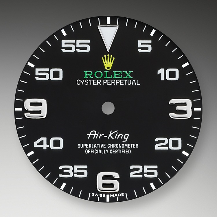 The Air-King dial features a distinctive black dial with a combination of large 3, 6 and 9 numerals marking the hours and a prominent minute scale for navigational time readings. It bears the name Air-King in the same lettering that was designed specially for the model in the 1950s.