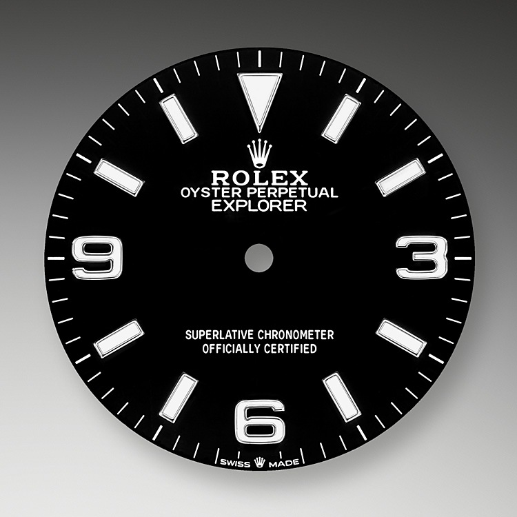 The dial is the distinctive face of a Rolex watch, the feature most responsible for its identity and readability. The latest Explorer model's characteristic 3, 6 and 9 numerals are now filled with a luminescent material emitting a long-lasting blue glow, like the hour markers and hands. Like all Rolex timepieces, the Explorer's dial is designed and manufactured in-house, largely by hand to ensure perfection.