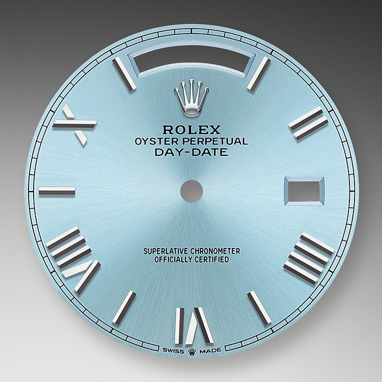 The ice blue dial is the discreet and exclusive signature of a Rolex platinum watch. Rolex uses platinum, the noblest of metal, for the finest of watches. These exclusive dials can be found only on the Day-Date and the Cosmograph Daytona.
