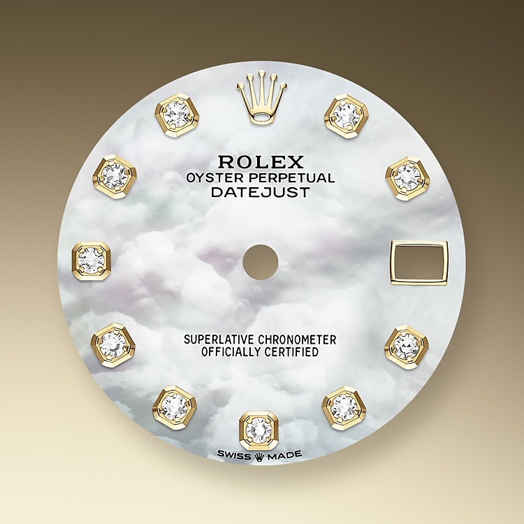 Mother-of-pearl is by its nature full of mystery and surprises. Depending on its origin, it can be pink, white, black or yellow. It differs in colour, intensity and structure according to the part of the shell from which it is extracted. At Rolex, mother-of-pearl is never artificially coloured. Instead, particular know-how and skill are devoted to simply highlighting its natural beauty and preserving the original hues. As all mother-of-pearl dials are unique pieces, an identical dial will never be found on another wrist.