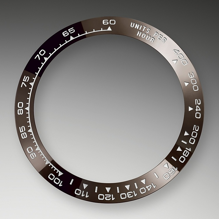 A key part of the model's identity is the bezel moulded with a tachymetric scale for measuring average speeds of up to 400 miles or kilometres per hour. The monobloc Cerachrom bezel in high-tech ceramic offers a number of advantages: it is corrosion resistant, virtually scratchproof and the colour is unaffected by UV rays. This extremely durable bezel also offers an exceptionally legible tachymetric scale, thanks to the deposition of a thin layer of platinum in the numerals and graduation via a PVD (Physical Vapour Deposition) process. The monobloc Cerachrom bezel is made in a single piece and holds the crystal firmly in place on the middle case, ensuring waterproofness.