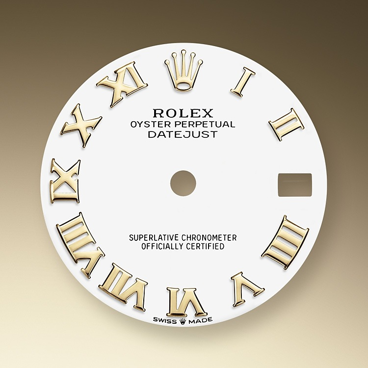 The dial is the distinctive face of a Rolex watch, the feature most responsible for its identity and readability. Characterised by hour markers fashioned from 18 ct gold to prevent tarnishing, every Rolex dial is designed and manufactured in-house, largely by hand to ensure perfection.