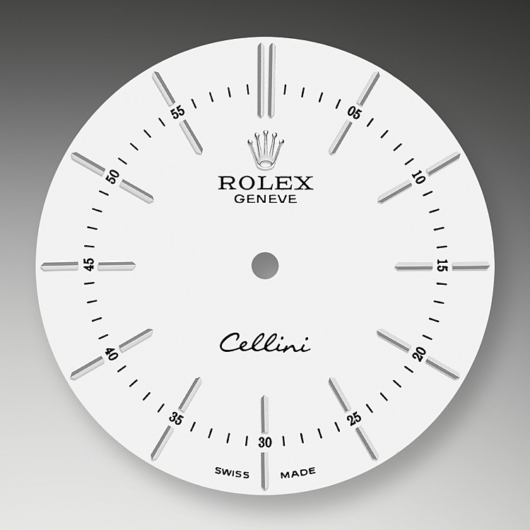 The simple, clear dial of the Cellini Time pays tribute to the timeless codes of classic watchmaking, while reinterpreting them with an elegant modernity. The stylized, stretched applique hour markers are divided by a minute track that has been moved toward the center of the dial, closer to the tips of the hands. Like on all Rolex watches, the appliques and Rolex crown are crafted in 18 ct gold.